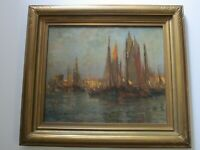 FINEST PAUL JOBERT PAINTING FRENCH IMPRESSIONIST COASTAL NAUTICAL ANTIQUE MARINA