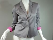 J Crew Women's Size 2 Blazer Preppy Grey/Silver Sateen Cotton Collar Lined