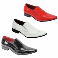 Mens Retro Shiny Patent Leather Brogue Loafers Smart Party Dress Wedding Shoes