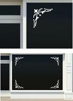 4x schaufenster ornamente ecken Dekor Sticker Beschriftung Geschäft 25x25cm S01