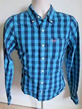 Men's Hollister Teal/Navy Check Long Sleeve Button Collar Shirt Small/S