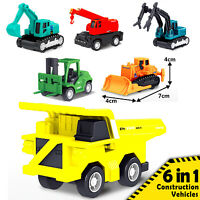 6pc Construction Gift Set JCB Excavator Digger Vehicle Children pull back toy 2+