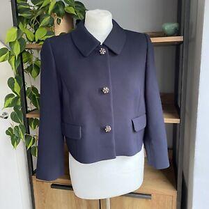 Hobbs Size 14 Navy Blue Cropped Bolero Occasion Jacket Gem Stone Buttons VGC