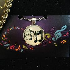 Necklace - Silver Tone / Glass Cabochon - Music Scrip - SALE LAST ONE!!