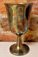 "Vintage Trophy Goblet ""1963 Slalom 1st Place"" Sheridan Silver on Copper Cup 60s"
