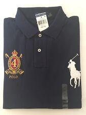 NWT POLO RALPH LAUREN MEN'S CUSTOM FIT BIG PONY No4 Rugby Polo Shirt NAVY SZ-2XL