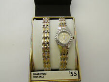 ELGIN WOMANS STAINLESS STEEL WATCH With CZ Crystals and Matching BRACELET EG8073