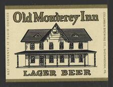 OLD MONTEREY INN BEER BOTTLE LABEL - UNUSED