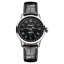 Ingersoll Oxford Moonphase/Day/Date/Month Black Leather Watch