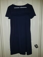 Ashley Judd Navy Blue Rusched Short Sleeve Dress, Large L.  *Free Shipping*