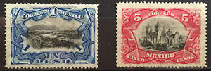 MEXICO 1899 $1 and $5 defins. Scott 302-303 MH mint hinged fresh colors, very ni