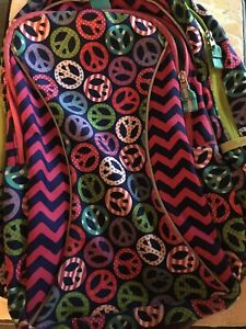 Garnet Hill Kids Backpack (Peace signs, Pink/Teal) Very Good Condition