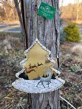 """New Kurt Adler 5.75"""" Winter Woods White-Gold Santa/Deer Tree Christmas Ornament!"""