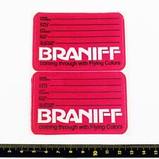 Braniff Airlines Bag Tag Stickers X 2 - 1980s - Good Condition