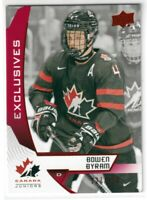 2019 UD Team Canada Juniors Bowen Byram Exclusives Rookie /250