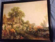 """VINTAGE 1940""""S """"I KNOW A LOVELY GARDEN"""" COTTAGE FLOWERS ART PRINT"""