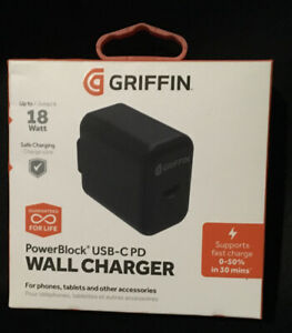 Griffin 2.4 Amp USB Type C 18 Watt Fast Wall Charger Power NEW Open BOX TESTED