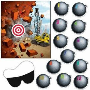 PIN THE WRECKING BALL ON THE CRANE CONSTRUCTION THEME PARTY GAME ACCESSORIES