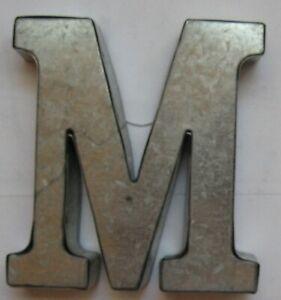"""Galvanized Metal Letter M Monogram 4"""" Initial Tin"""