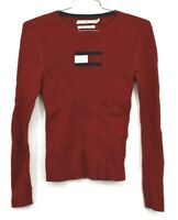 Tommy Hilfiger Womens Sweater Ribbed Red Casual Everyday Cotton Size Medium