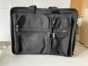 Tumi Alpha black ballistic nylon laptop expandable briefcase