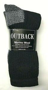 2 Pair Men's Premium 71% Merino Wool Black Crew Sock Size 10-13 Made in USA