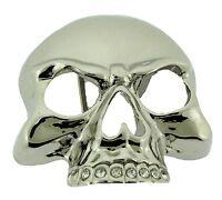 Skull Belt Buckle Rock Rebel Rhinestone silver mens women new western cowboy hip