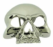 Skull Belt Buckle Rock Rebel Rhinestone silver mens women new western cowboy hip