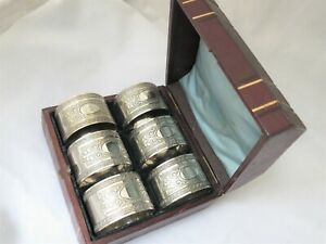SET OF 6 VICTORIAN SILVER PLATED NAPKIN RINGS NUMBERED ORNATE EPNS - GOOD CASE
