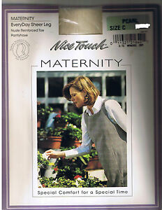 Nice Touch Maternity Sheer Leg Pearl Tummy Support Panel Pantyhose Sz C 125-170