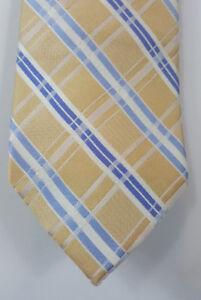 "Michael Kors Men's 100% Silk Gold White Blue Striped Neck Tie 61"" Excellent Cond"