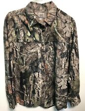 Cabelas Real Tree Long Sleeve Shirt Moisture Wick UPF 30 Mens Size Large Button