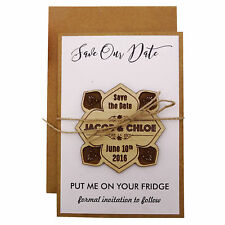 Personalized Wooden Engraved Magnets Wedding Announcements With Envelopes-MG3