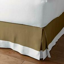 (Extra PKT ) Two Tone 1Qty Bed Skirt Cotton 1000TC Solid (Taupe - White)