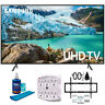 "Samsung 55"" RU7100 LED Smart 4K UHD TV 2019 Model with Slim Wall Support Bundle"