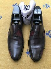 BERLUTI Mens Shoes Grey leather loafers UK 10 US 11 UE 44 Patchwork scritto