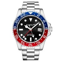 Stuhrling 3965 2 Aquadiver Swiss Quartz GMT Date Stainless Steel Mens Watch