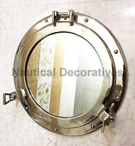 """Decorative 17"""" porthole round coastal wall Hanging Mirror porthole home chic"""