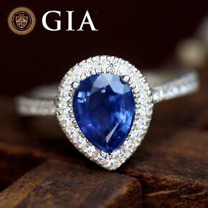 GIA Certified Natural Ceylon Cornflower Blue Sapphire Diamond 18K Gold Ring 2TCW