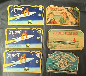 VINTAGE NEEDLE BOOKS 3 ATOMIC, 1 HAPPY HOME, 1 FINEPOINT, 1 JET SPEED JAPAN