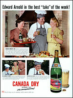 1942 Edward Arnold actor BBQ Canada Dry Ginger Ale vintage photo Print Ad adL19