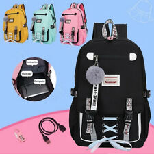 UK Womens Large School Bags For Teenage Girls USB With Lock Anti Theft Backpack
