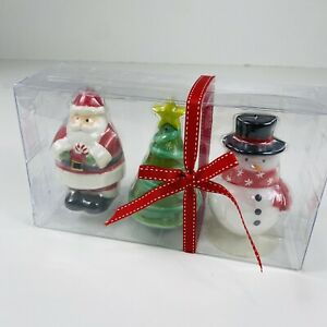 """Holiday Christmas Candle Santa Tree Snowman with Hat Set of 3 NEW 4"""" Decor"""