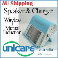 Blue Wireless Mutual Induction Music Speaker Charger for Samsung Galaxy Motorola