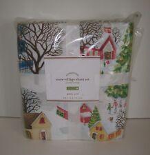 Pottery Barn Snow Village Queen Cotton Percale 4 Pc Sheet Set Christmas