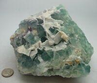 Aqua Blue Fluorite Crystal Specimen Mexico 3 lbs 12oz Chakra Reiki