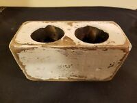 Two (2) Hole Chippy White Wooden Sugar Mold Wood Candle Holder Primitive Look
