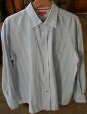 FACONNABLE Jeans SIZE XL Mens light Blue Button Front Shirt AMAZING! Striped