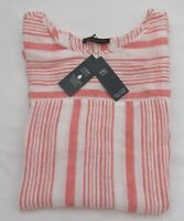 LADIES MARKS AND SPENCER CORAL AND WHITE STRIPED PURE LINEN TOP SIZE 18