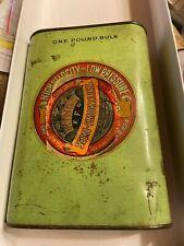 King's powder can antique green, scratched, paper label, Cincinnati Ohio